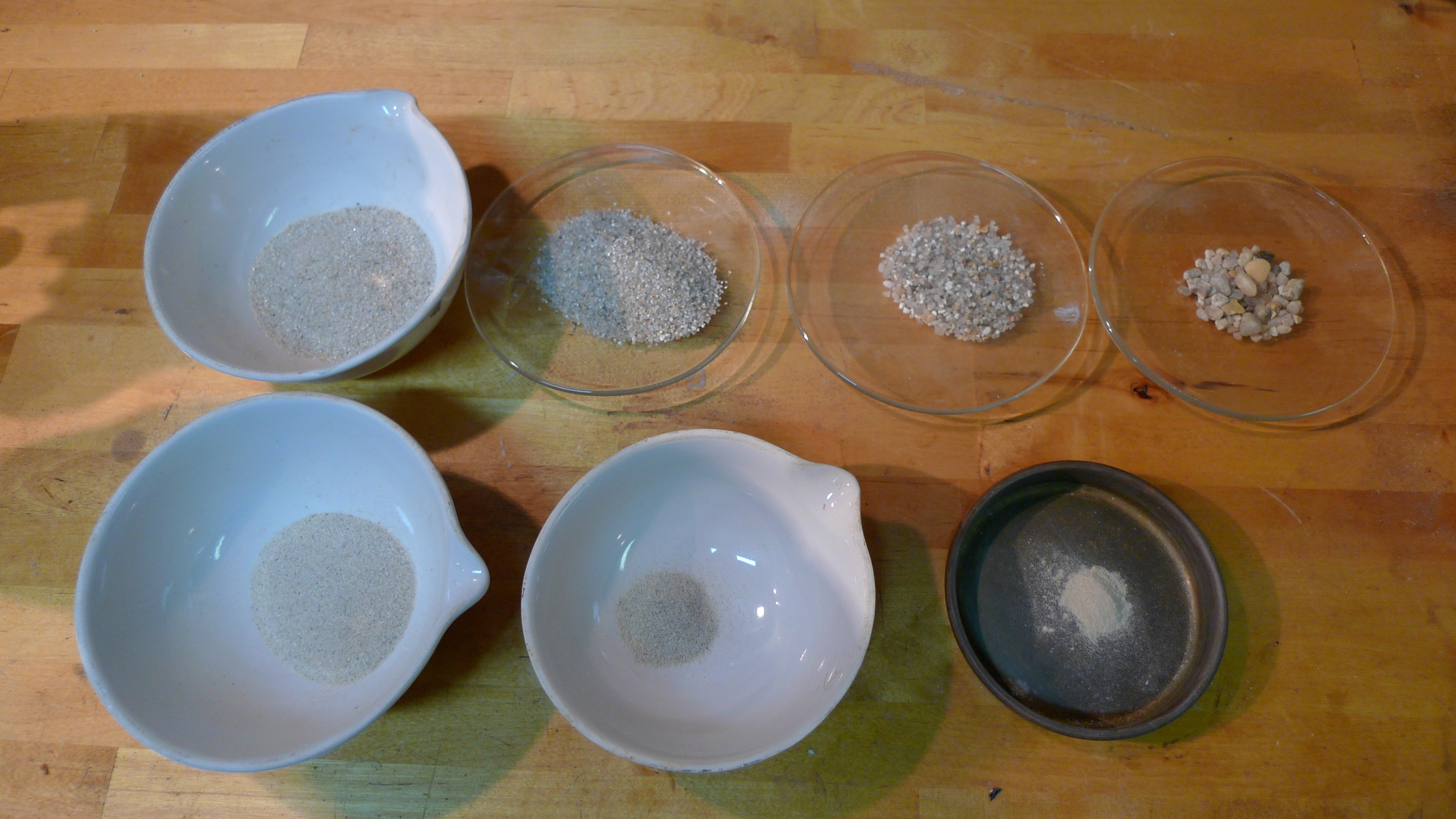 Setting the fractions from sieving out to allow visual comparison of the ratios is sometimes the easiest way to assess the sand and its graph