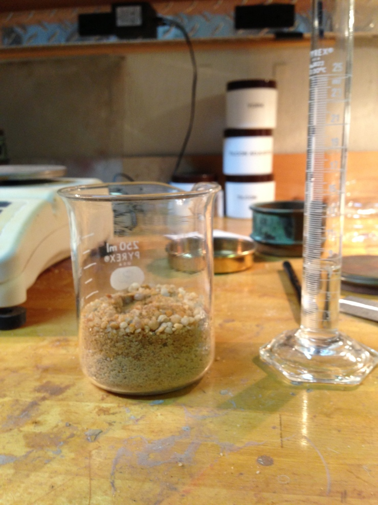 Dry sand and known volume of alcohol to begin assessing wet-out ratio.