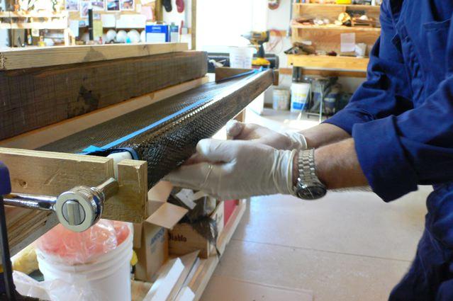Winding carbon fiber tubes for testing at Menokin 2007 John Greenwalt Lee