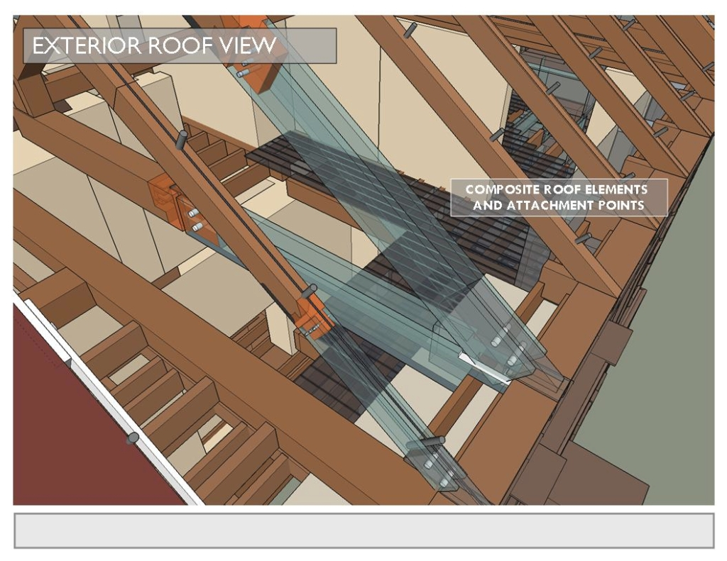Broken rafters are also envisioned to receive the composite to glass extensions in Menokin concept