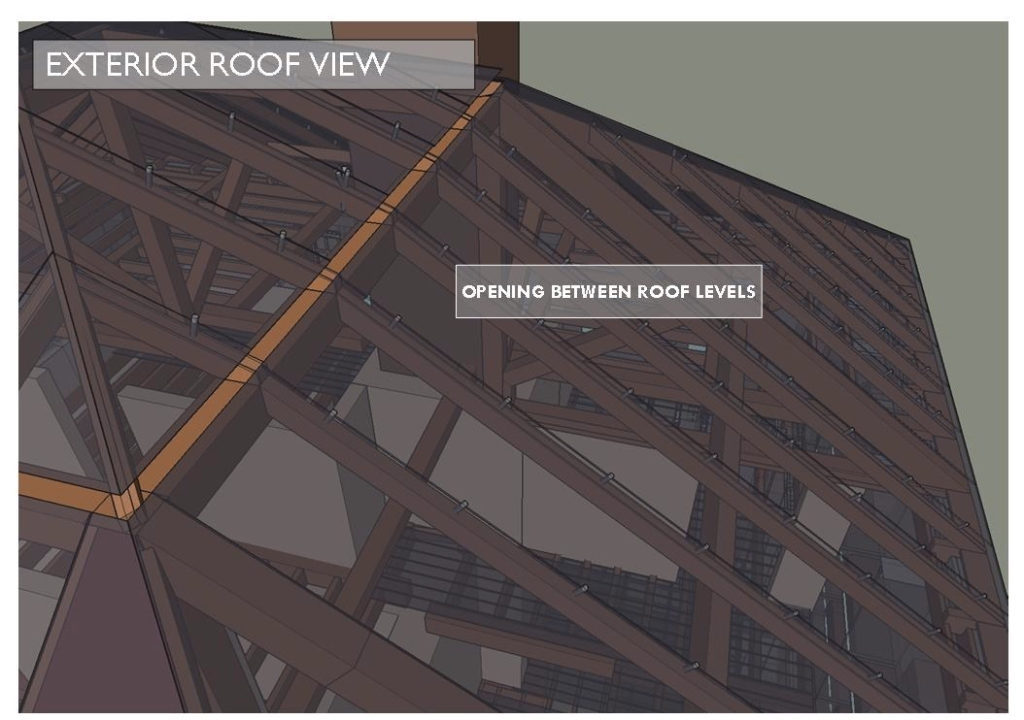 The reintroduced composite rafters then can support a PV roof that vents between transitions in Menokin concept