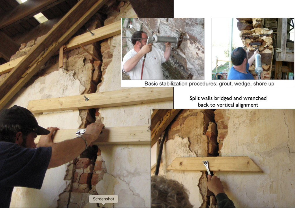 Stabilization of walls had also meant bridging cracked wall sections and pulling the halves back into vertical alignment