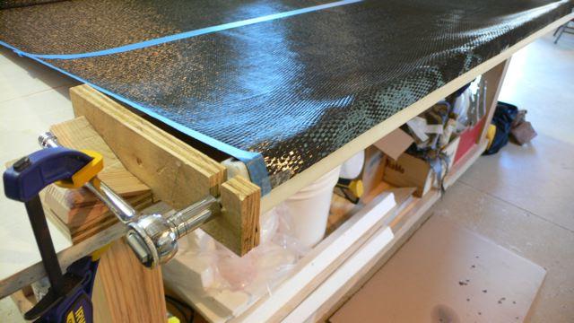 Closeup of winding carbon fiber tubes for testing at Menokin 2007 John Greenwalt Lee