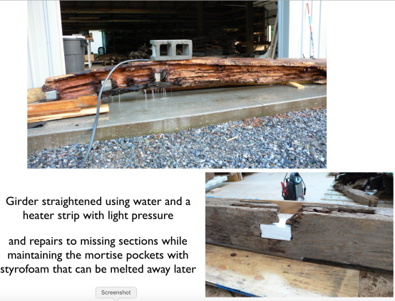 Menokin large timber straightening with water and re-casting lost mortises by John Greenwalt Lee 2007