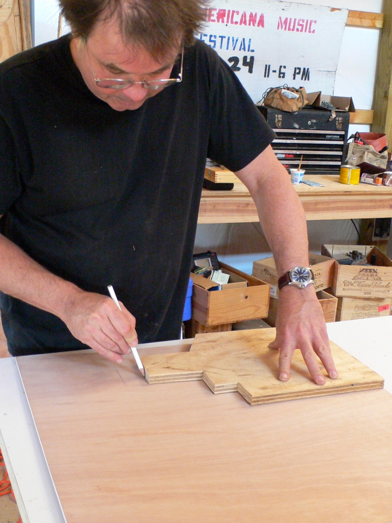 "Tracing profiles from the mortise ""box"" to create a cast tenon form for Menokin girder"
