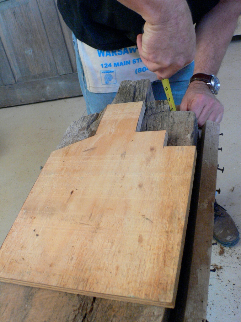 Layout to create a form for the mortise profile on a Menokin girder