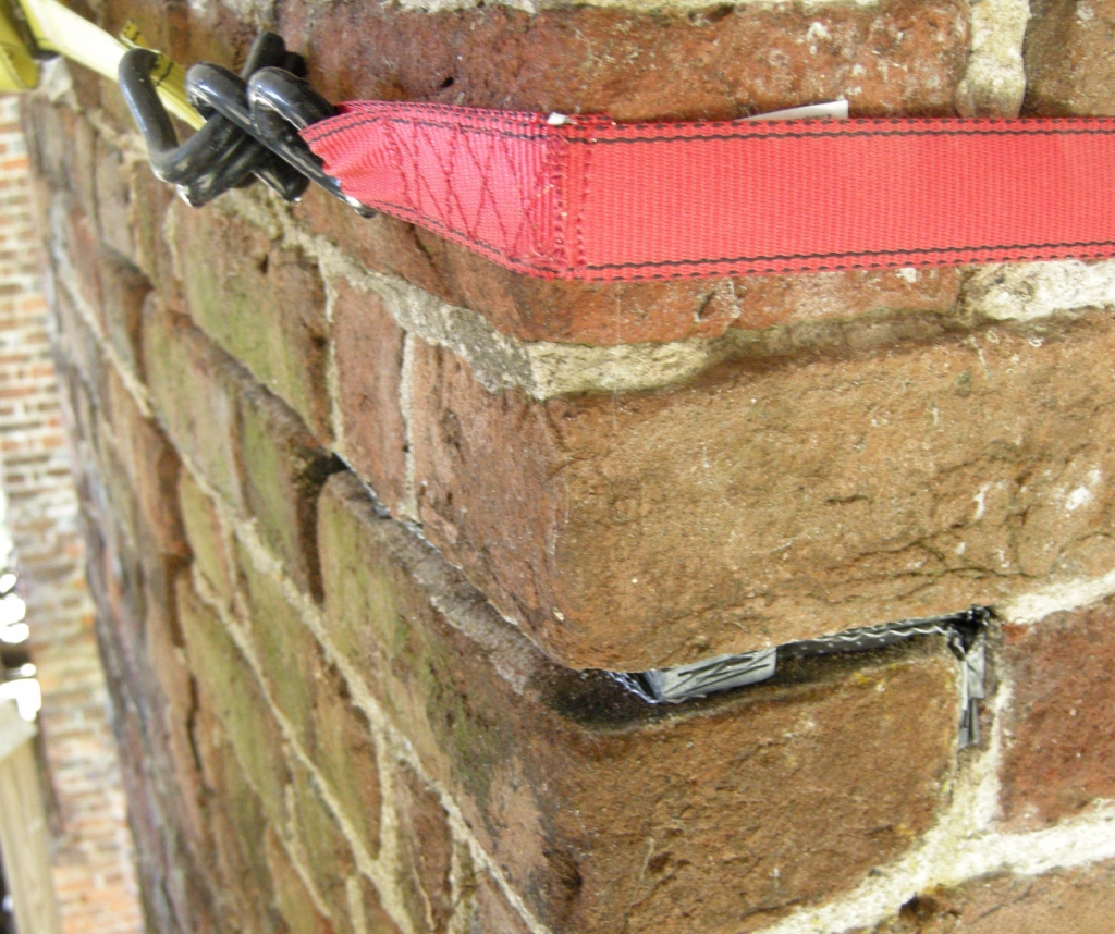 Carbon fiber tow in horizontal mortar joints locked down into verticals at end on Menokin chimney