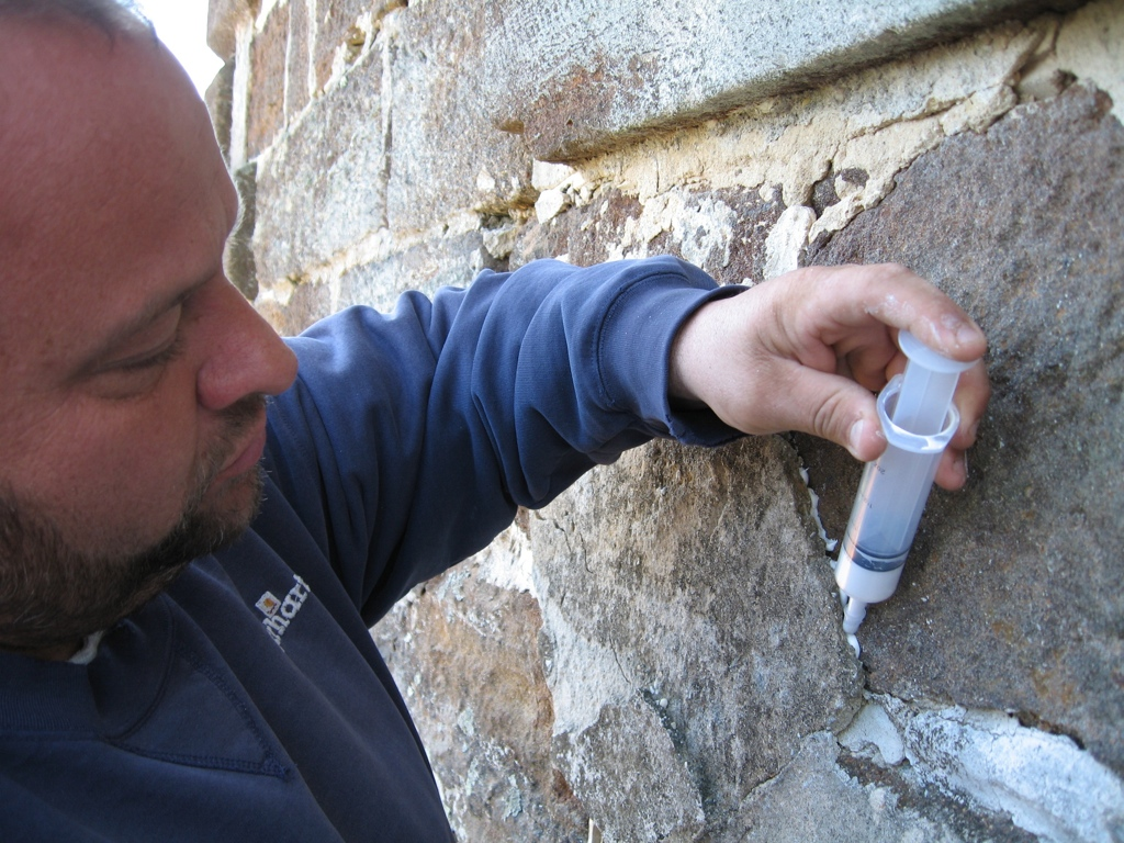 Grout was also used to protect the leading edge of stucco that had been delaminating