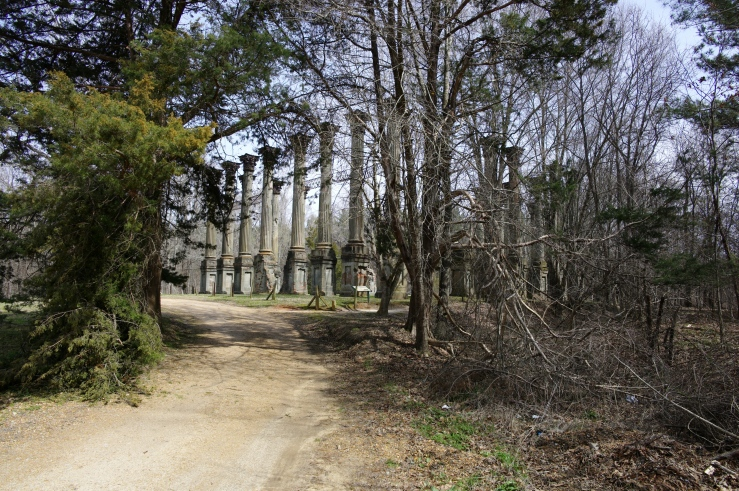 Windsor Ruins north of Natchez Mississippi built on loess and once Mississippi River frontage that has since become stranded inland.