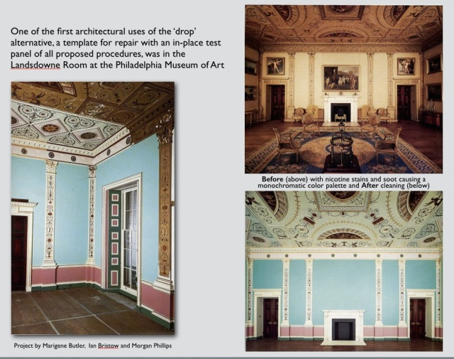The benefits of up-front investigation at the Landsdowne Room at the Philadelphia Museum of Art under Marigene Butler, Ian Bristow, and Morgan Phillips uncovered a very unexpected polychrome color palette