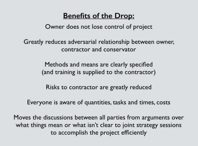 "The benefits of a ""drop"" or upfront testing and mockup phase in preservation projects to proceed project bidding"