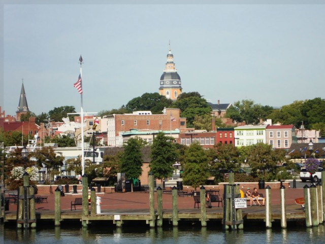 View from the harbor. Rendering of historic Maryland State House Dome paint scheme by Malcolm Dax.