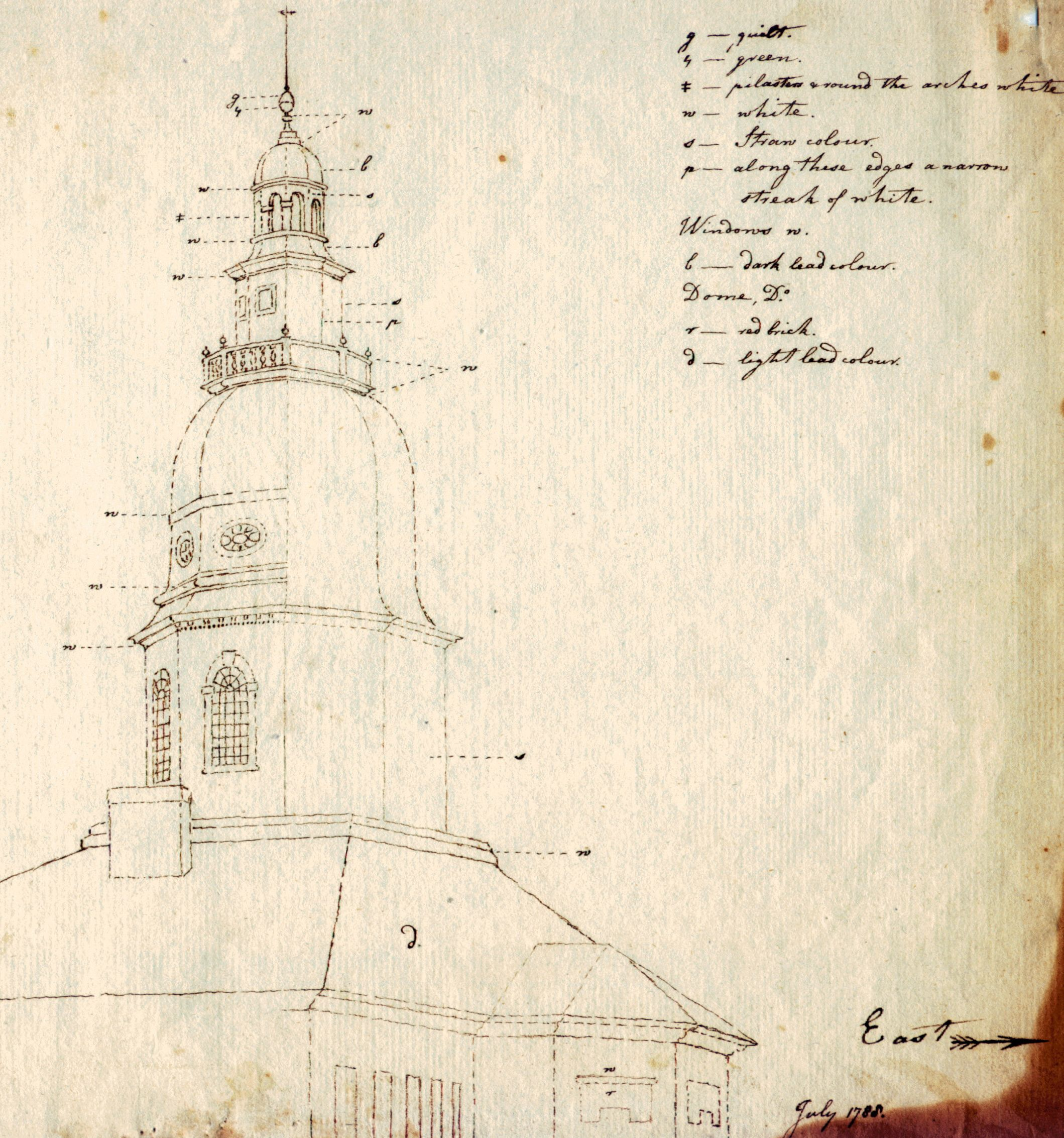 """Highlight from Charles Willson Peale sketch depicting """"straw"""" as a key dome color."""