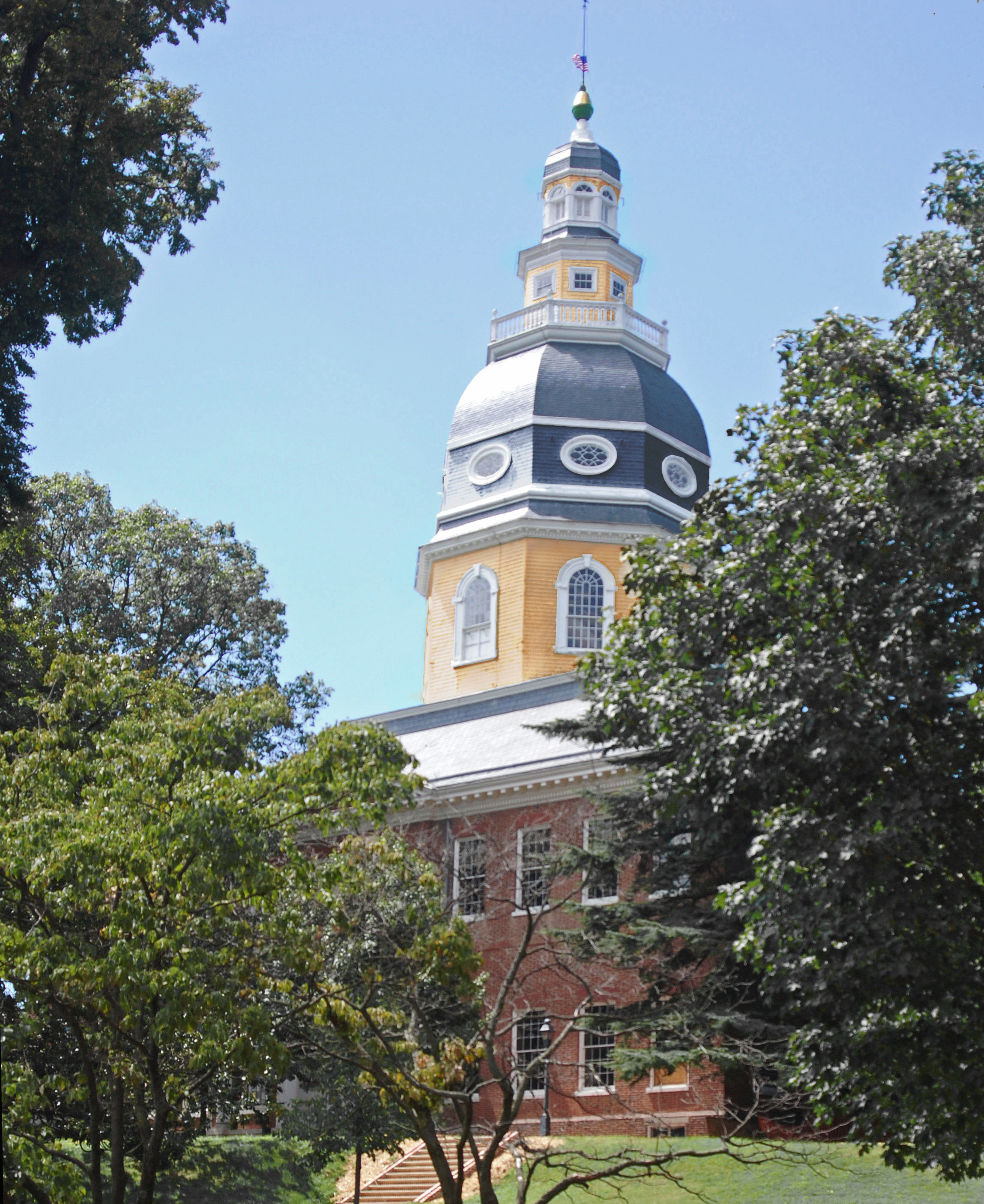 Rendering of original Maryland State House Dome colors as viewed from State Circle. Image by Malcolm Dax, 2010