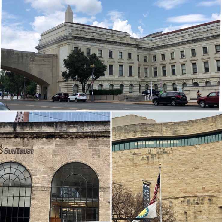Biofilm stained buildings in DC: USDA, SunTrust Bank, Museum of the American Indian, 2019