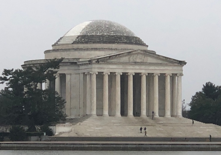 Biofilm growths on the Jefferson Memorial with laser cleaned slice showing, 2018